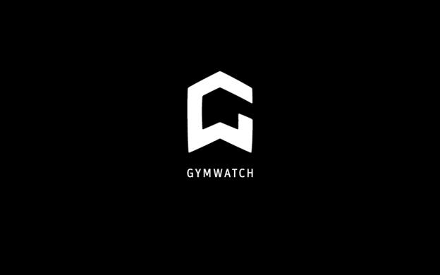 Gymwatch Logo Wort- und Bildmarke in weiß auf schwarzem Grund